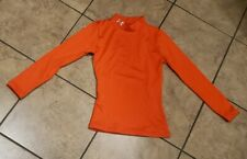 Youth Under Armour Heat Gear Orange Fitted Compression Long Sleeve Shirt Sz YXS