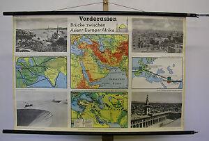 Schulwandkarte Wall Map Turkey Bosporus Asia Minor Card 99x67cm Map Card ~ 1960