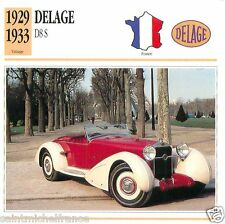 DELAGE D8 S 1929 1933 CAR VOITURE FRANCE CARTE CARD FICHE