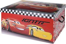 Disney Cars Cardboard Storage Boxes With Carry Handles & Lid Room Toy Storage