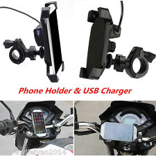 Motorcycle Bikes Cell Phone GPS Mount Holder with USB Charger For iPhone Samsung