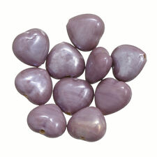 Shiny Lavender Luster Glass Heart Shape Beads 13mm Pack of 10 (P22/3)