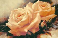 Wand Bild Igor Levashov Botanik Blumen Rose Malerei Creme 59x90x1,2 cm A5ND