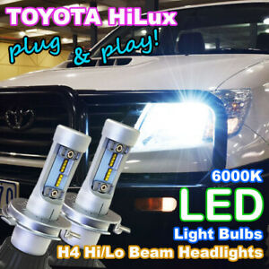 Pair H4 LED Headlight Bulb Hi/Lo Beam Upgrade Kit for Toyota Hilux Ute 4X4 4WD