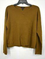Eileen Fisher Womens Brown Long Sleeves Knitted Crewneck Merino Wool Top XS $278