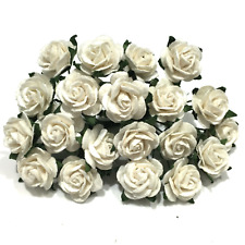 White Open Mulberry Paper Roses Or017