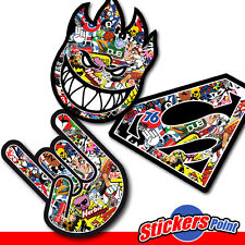 3 STICKERS BOMB ADESIVI in PVC - HORNS - SPITFIRE- SUPERMAN - kit n.2
