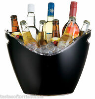 Bar Craft Acrylic Large Black Oval Party Drinks Pail / Cooler Ice Beer Bucket