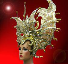 Showgirl Drag Queen Carnival Cabaret Dance Costume Gold Headdress beads glass