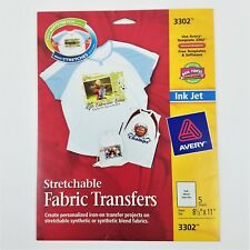 Avery 3302 Ink Jet Strechable Fabric Transfers - 5 Full Size Sheets - NIP (#1)