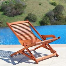 Outdoor Wood Reclining Folding Lounge