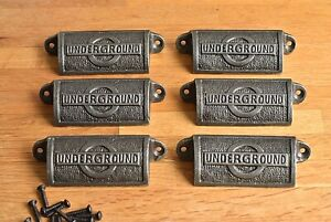 Six antique style cast iron iconic London Underground logo drawer pull handles