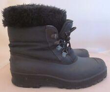 Sorel Winter Black Boots Women's Sz 8 Fur Rim Wool Felt lined Made in Canada