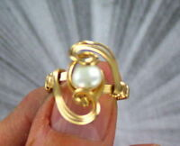 Pearl Gemstone Ring in 14kt Rolled Gold Wire Wrapped Pearl Jewelry