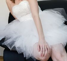 Wedding or Formal Short White tulle Dress with Pearls (S-M)