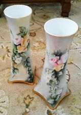 ANTIQUE 19TH C. BAVARIAN PAIR TALL HAND PAINTED ROSES VASES SIGNED H. GANZHORN
