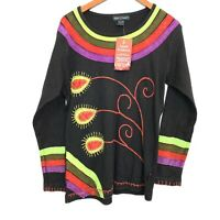 NWT! Agan Traders Women's Size L Black Embroidered Bohemian Gypsy Top Blouse