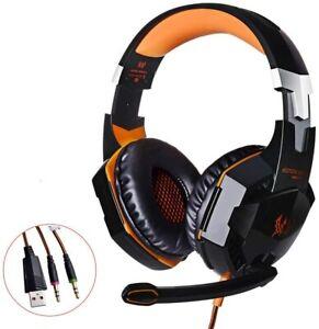 Cuffie Gaming Kotion Per PS4, PC, Xbox One,con Microfono Stereo Bass LED Orange