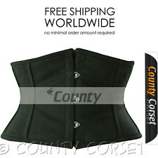 Waspie Shaper Full Steel Boned Mini Cincher Waistbust Sexy Black Cotton Corset