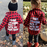 Toddler Kids Baby Girls Long Sleeve Plaid Shirt Blouse T-shirt Tees Tops Clothes