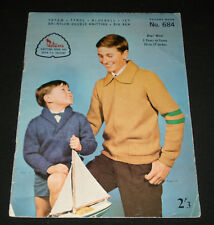 VINTAGE 1960s  PATONS KNITTING BOOK  #684 BOYS CASUAL JUMPERS TOPS