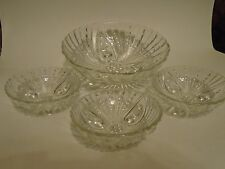 Anchor Hocking Clear Depression Glass Oyster & Pearl 4pc. Fruit Bowls