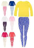 Girls Legging Set New Kids Long Sleeved Plain T-Shirt Leggings Outfit 2-7 Years