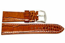 28MM BROWN CROCODILE GRAIN GORGEOUS LEATHER WATCH BAND STRAP