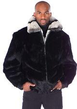 Mens Real Rabbit Fur Bomber Jacket Zippered - Rex Trim