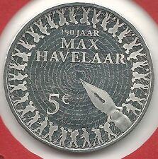 Misslag 5 euro Max Havelaar 2010 met nauwelijks leesbaar randschrift UNC