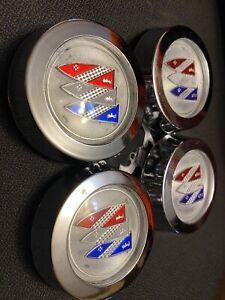 NOS OEM Set Buick Rally Wheel Center Cap Regal Skylark GS Riviera 60 70s Estate