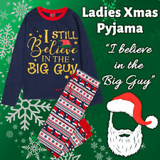 Womens Ladies Xmas Christmas Pyjama PJ Pajama Set Top Bottoms Cotton Slogan Long