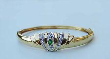 Ladies Tiara Genuine Emerald Cuff Bracelet w/ 19 Diamonds - 18K Yellow Gold