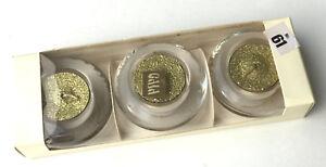 3er Set Glas Teelichthalter Glasleuchter mit Dekorationslichtern golden, OVP