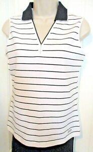 IZOD Black/White Stripe Collared Signature Polo, V-Neck, Cotton/Span, XS, NWT