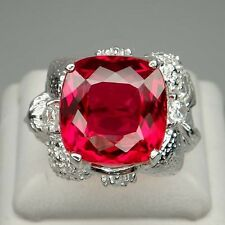 ARTISTIC! RED TOPAZ 17.65CT. & WHITE SAPPHIRE STERLING 925 SILVER RING SIZE 6.5