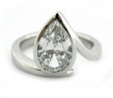 Engagement Solitaire Ring 925 Sterling Silver 1.83 Ct Pear Near White Moissanite
