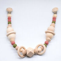 Geometric Round Natural Wood Beads Baby Sensory Teething Toys Pram Chain Garland