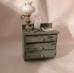 Dollhouse furniture miniature accessories  Nightstand Shabby Chic Lamp Magazine