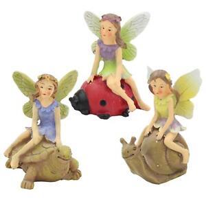 The Fairies Enchanted Garden Range - Set 3 Fairy on Tortoise Snail and Ladybird