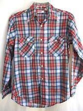 Vtg 70'S.Red, White & Blue.Plaid.Button Down.Thin.Shirt.Usa.sz Med