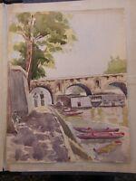 Aquarelle Bords de Seine par Robert Louisnard années 30