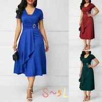 Plus Size Summer Vogue Sexy Asymmetric Hem V Neck Mini Dress Party Evening Dress