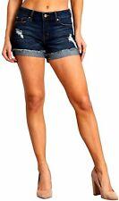 CELEBRITY PINK Women's Mid Rise Frayed Flip Cuffed Blue Short 12 Styl#CK30612G48