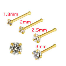 20 Gauge 14K Solid Yellow Gold Cubic Zirconia Prong Setting End Bone Nose Stud