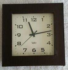 Stiffel Clock Analog Leather Dark Stitched Faux Square