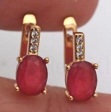 18K Gold Filled Earrings Ruby White Topaz Zircon Jade Classic Ear Hoop Stud Gift
