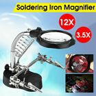 LED Lamp Soldering Iron Stand Lens Magnifier Helping Hand Clamp Magnifying Tools