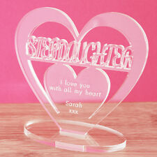 Personalised Heart with Message Ornament Keepsake Birthday Step Daughter Gift