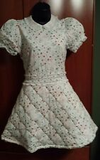 NWT RED VALENTINO 100% Cotton Quilted White Dress w/ Flowers & Lace Trim Sz S